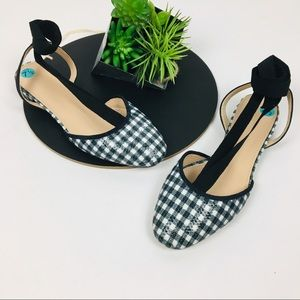 J. Crew ankle wrap Gingham Sequin Lace up Flat 7.5